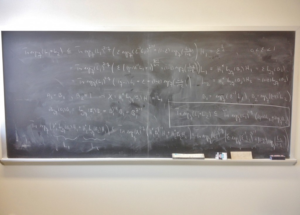 The blackboard in my father's office.